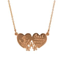 Alex Monroe Double Heart Necklace with Anchor