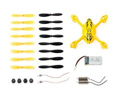 Genuine Hubsan Spare Parts Crash Pack for X4 H107C Quadcopter Drone, Includes Body Shell, 8 Pairs of Yellow and Black Propellers, LiPo Battery, 4x Rubber Feet, 2x Motors, 2x LED Lights * Click image for more details.