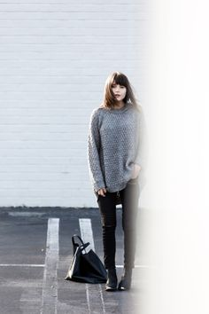 """justthedesign: """"Rima Vaidila is wearing a grey knit oversized jumper from Pink Stitch """""""