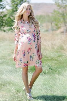 Peach Floral Print 3/4 Sleeve Maternity Dress from PinkBlush Maternity www.pinkblushmaternity.com #maternity #fashion