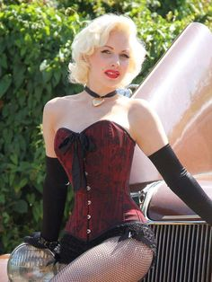 c6d09d898c4 Steel boned corset in sophisticated red and black floral jacquard with  black satin trim.