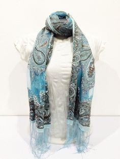 Nepal Hand Made Silky Lace Shawl Scarf Blue