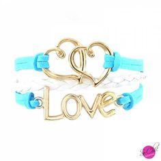 Bracelet Infinity Love - Bleu et blanc - Boutique Sochic  >>