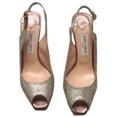 Pre-owned Jimmy Choo Nova Champagne Pumps ($317) ❤ liked on Polyvore featuring shoes, pumps, champagne, off white shoes, jimmy choo shoes, champagne pumps, sexy shoes and slingback pumps