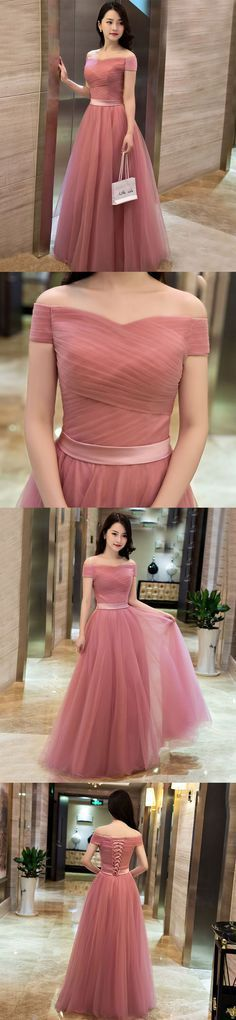 Little Cute | Elegant pink A line off shoulder tulle long prom dress, evening dress | Online Store Powered by Storenvy