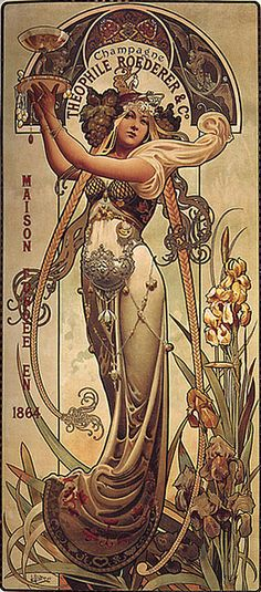 Louis-Théophile Hingre 1864, after the style of Alphonse Mucha,  the originator of the Art Nouveau school of design