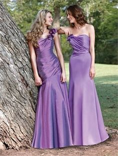 Lilac strapless long satin Bridesmaid Dresses #wedding #bridesmaid #dress www.loveitsomuch.com