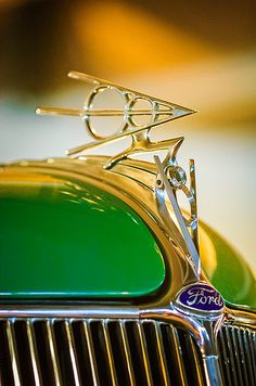 Classic Cars : Illustration Description 1936 Ford Deluxe Roadster Hood Ornament by Jill Reger Car Badges, Car Logos, Vintage Cars, Antique Cars, Art Nouveau, Car Hood Ornaments, Chevy, Automotive Art, Us Cars