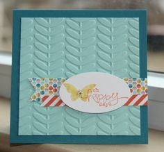 Square SAB Butterfly Card great for scraps of DP
