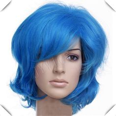 Blue Medium Long Synthetic Women  Wig Sexy Costume For Lady Heat Resistant Hair Anime Party Cosplay