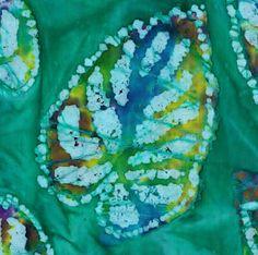 "Batik Quilt Patterns | 12 - 6.5"" Batik Fabric Quilt Squares - Teal Green w/Multi Leaf Pattern"