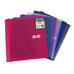 C-Line Products Reusable Poly Envelope with String Closure Side Load Assorted Colors