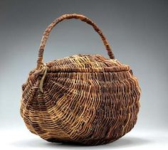 Lidded Carrying Basket by Ole Cree / American Art