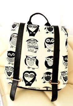 Black and White Cute Owls Print Backpack