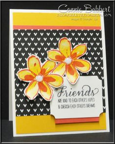 Garden in Bloom for the Create with Connie and Mary Color Challenge this week.  Love how the black pops the colors!  Stampin' Up!, #stampinup, friends, created by Connie Babbert, www.inkspiredtreasures.com