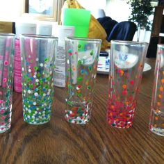 Painted shot glasses ! Nailed it (: