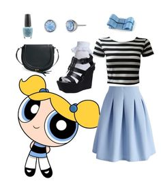 """""""Powerpuff Girls - Bubbles"""" by skullcandi13 on Polyvore featuring Lonna & Lilly, Chicwish, Steve Madden, OPI and Sole Society"""