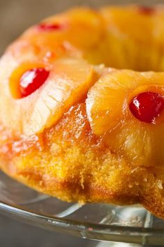 A beautiful pineapple upside-down cake baked in a Bundt pan.