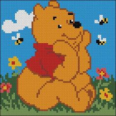 "Cross-stitch design for pillow ""Winnie the Pooh"" Cross-stitch design for pillow ""Winnie the Pooh"" Sweet cross-stitch pattern for pillow with di Small Cross Stitch, Beaded Cross Stitch, Cross Stitch Baby, Cross Stitch Animals, Cross Stitch Embroidery, Embroidery Patterns, Free Cross Stitch Charts, Cross Stitch Freebies, Modern Cross Stitch Patterns"