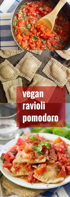 Homemade vegan ravioli is easier than you think, and delicious to boot! Serve it with quick tomato basil sauce for a scrumptious vegan ravioli pomodoro.