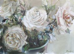 Roses Painting - x - Inside Out Home Boutique Rose Oil Painting, Beautiful Artwork, White Roses, Art Projects, Floral, Flowers, Illustrations, Boutique, Art Crafts