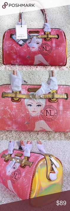 "💋Nicole Lee Erika Print Boston Handbag💋 Nicole Lee Erika Print Handbag is made of Faux Leather with Nicole Lee Erika Print in both side, Hologram design on the sides, Glossy faux leather trim, Front belt embellishment with Nicole Lee Locket, Back zip wall pocket and Nicole Lee signature nameplate at front, inside Nicole Lee Logo lining, inside zipper pocket and two inside pockets. Handbag measures 14"" long x 11' tall x 7 1/2"" deep Handles have a 8"" drop. Comes with adjustable, detachable…"