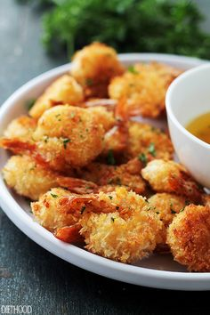 """Batter """"Fried"""" Shrimp with Garlic Dipping Sauce 