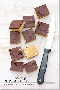 No Bake Peanut Butter Bars | @mamamissblog #peanutbutter #nobake #quickdessert