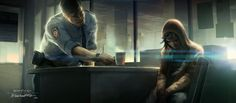 Concept art of a police officer giving Jodie a hot beverage from Beyond: Two Souls by Francois Baranger