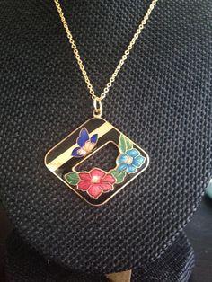 Cloisonne Pendant, black cloisonne pendants,  Art Deco Necklace, Vintage…