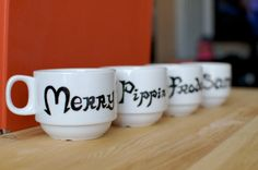 """My PE teacher has this """"famous pairs"""" way of picking partners. She has index cards and gives everyone a card with a name or object written on it. Then you have to find your match. She has things like Beauty and Beast, Pencil and Paper, Sam Gamgee and Frodo Baggins, Apples and Oranges, Ben and Jerry, etc. These mugs reminded me of her."""