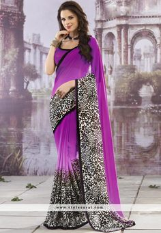 Fascinating Purple Color Georgette Party Wear Saree
