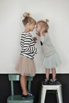 Tulle skirts with casual tops & sneaks. Everyday in the life of a little!