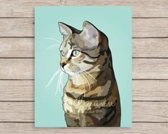 Tabby Cat Art Print, Tabby Cat Painting, Cat Gift, Cat Lover Gift, Cat Print…