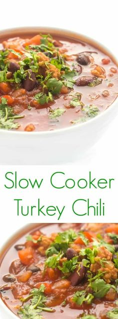 The easiest slow cooker healthy turkey chili for the perfect winter comfort food #slowcooker #crockpot #turkey #chili #mealprep #comfortfood Slow Cooker Turkey, Slow Cooker Chili, Healthy Slow Cooker, Crock Pot Slow Cooker, Slow Cooker Recipes, Crockpot Recipes, Freezer Recipes, Hearty Soup Recipes, Chili Recipes