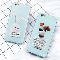 Caso para el iphone 5s caso animal lindo de la historieta para iphone 5 se 6 6 S Plus Contraportada de La Vida Secreta de Mascotas Carta Phone Cases Capa