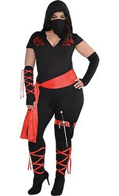 Adult Dragon Fighter Ninja Costume Plus Size includes a bodysuit, mask, sash, gloves, and weapon. This plus-size sexy ninja costume also features red dragon prints. Halloween Costumes Plus Size, Halloween Costumes To Make, Plus Size Costume, Diy Costumes, Costumes For Women, Halloween Makeup, Costume Ideas, Group Halloween, Halloween Recipe