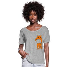 Geschenke Shop   Katze in Tscherl rot - Frauen T-Shirt mit Fledermausärmeln von Bella + Canvas Shirt Diy, Sleeping Women, Cool Lettering, Viscose Fabric, How To Roll Sleeves, Hoodie Dress, Beauty Quotes, Sport T Shirt, Kettlebell