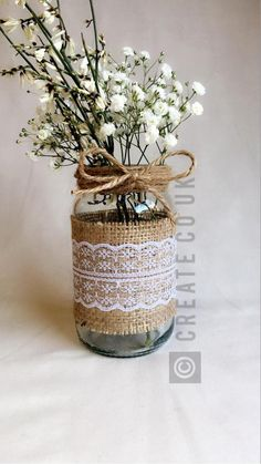 Gadgets just like 8 10 15 x Hessian Lace Twine Wrapped Marriage ceremony Flower Jars Multi Itemizing on Etsy - Hochzeitsblumen Vintage Wedding Centerpieces, Wedding Table Flowers, Mason Jar Centerpieces, Wedding Table Centerpieces, Wedding Tables, Centerpiece Ideas, Wedding Ceremony, Lace Mason Jars, Mason Jar Crafts
