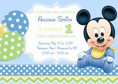 Printed Baby Mickey Birthday Party Backdrop By Paperstudioeu 1st