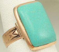 Antique c1900 Victorian Natural Persian Turquoise 14k Rose Gold Cocktail Ring