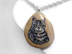 Tabby Cat Jewelry, Pet Portrait Necklace, Memorial Pendant, Beach Stone, Animal Painting, Gray Cat Art, Green Eyes, Pet Loss