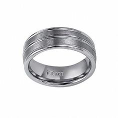 Zales Mens 8.0mm Brushed Stainless Steel Twist Band with Sterling Silver Inlay 4jhwtRH
