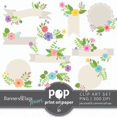 Banner and Flags Flowers  10 Clip Arts  PNG  by POPprintonpaper, $4.00