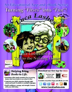 Get the most our of your visit to a #nursing home with our #interactive #app and eBook series! Interact and learn along with Luca as he visits Great #Grandma! Learn more at http://www.lucalashes.com.