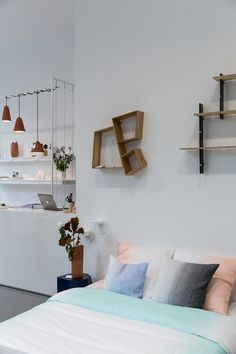 discovering new hot spots in belgium thanks to the feeling feel.it app. part one - design store the game in antwerp. Home Studio, Bedroom Bed, One Design, Floating Nightstand, Building A House, Shelves, Hot Spots, Terracotta, Wall