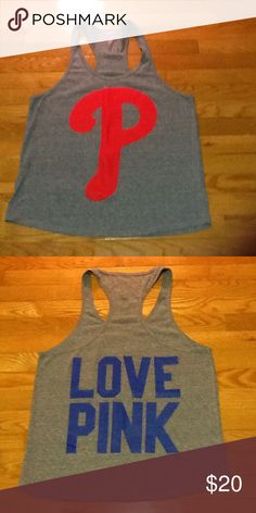 VS PINK Phillies tank EUC! Phillies tank from PINK's MLB collection. Racerback. Oversized. 💸 Reasonable offers considerd ↘️ Use OFFER button  🚫 NO TRADES! ⚡️ Fast Shipper! PINK Victoria's Secret Tops Tank Tops