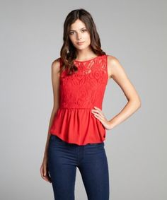 Romantic lace detailing headlines this must-have top from Romeo & Juliet Couture. Finished with a flirty peplum hem, its a pretty pick for your next dinner date. $79