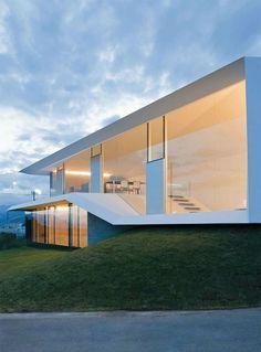 beautiful glazed walls, A-House in Yamanashi by Kubota Architect Atelier