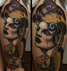 Tattoo by Emily Rose Murray The golden mask - Tattoo MAG Emily Rose, Traditional Tattoo Woman, Traditional Tattoo Design, Traditional Tattoos, Mask Tattoo, Bee Tattoo, Tattoo Life, Sleeve Tattoos For Women, Tattoo Sleeve Designs
